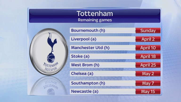 Tottenham's final eight games of the Premier League season