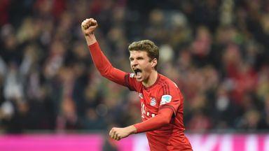 Bayern Munich's midfielder Thomas Muller celebrates scoring against Werder Bremen