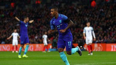 Luciano Narsingh celebrates putting the Dutch ahead