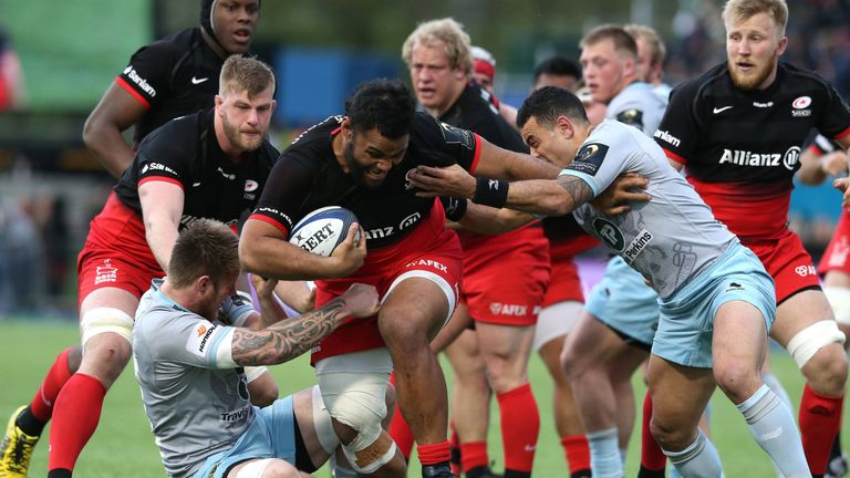 Billy Vunipola on the charge for Saracens