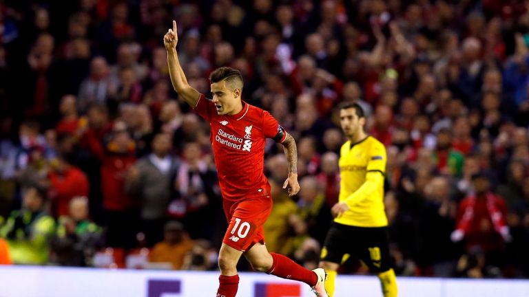 Philippe Coutinho scored Liverpool's second goal on the night