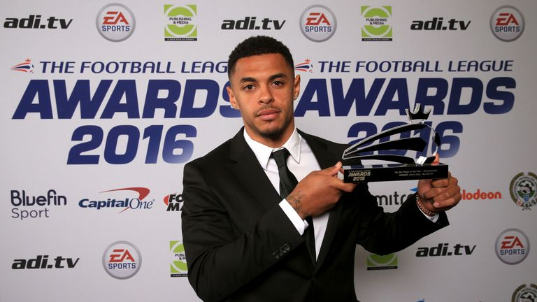 Burnley's Andre Gray receives the Sky Bet Championship Player of the Year Award at the Football League Awards in Manchester on Sunday