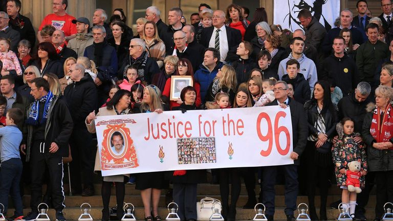 The families held a vigil on Wednesday night to remember the 96 victims of the Hillsborough tragedy
