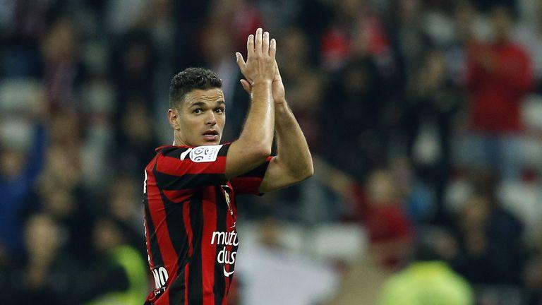 Hatem Ben Arfa applauds the Nice fans