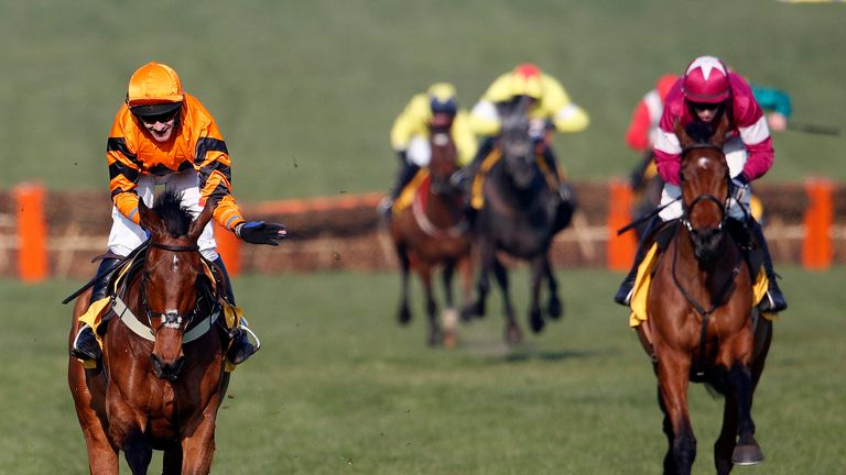 Thistlecrack (L) beats Alpha Des Obeaux to win the World Hurdle at Cheltenham