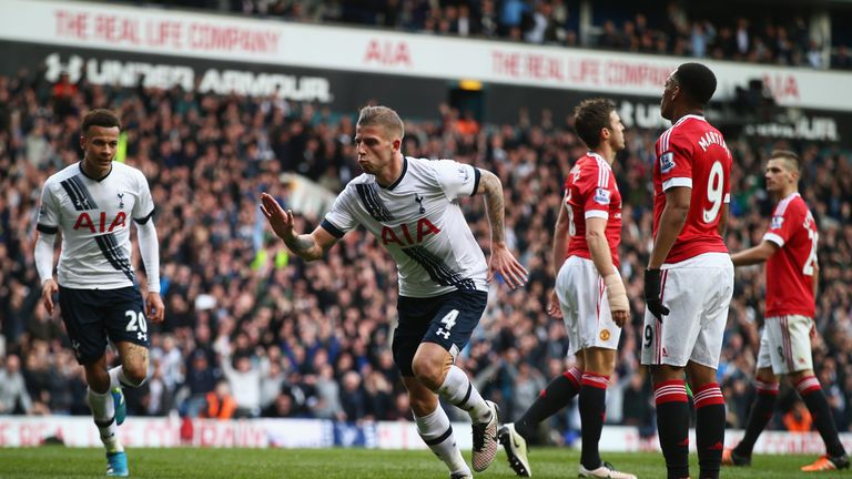 Toby Alderweireld Of Tottenham Hotspur Celebrates As He Scores Their Second Goal