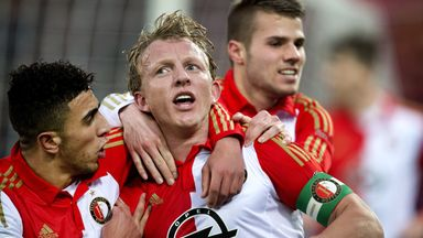 Feyenoords' Dirk Kuyt (centre) scored twice against Excelsior