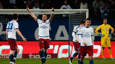 Pierre-Michel Lasogga celebrates Hamburg's second goal against Werder Bremen