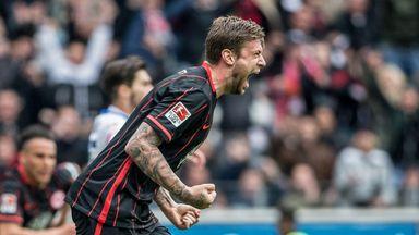 Marco Russ celebrates Eintracht Frankfurt's opening goal against Mainz