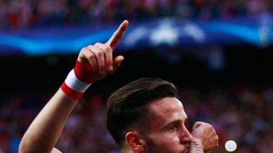 Saul Niguez goal celeb, Atletico Madrid v Bayern Munich, Champions League