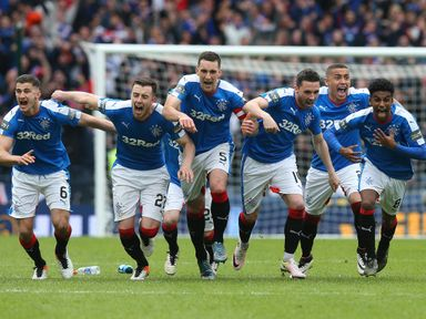 Rangers celebrate after winning the penalty shoot-out against Celtic