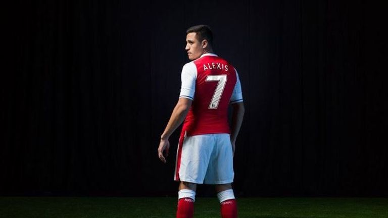 Alexis Sanchez has ditched No 17 for No 7 (image c/o Arsenal)