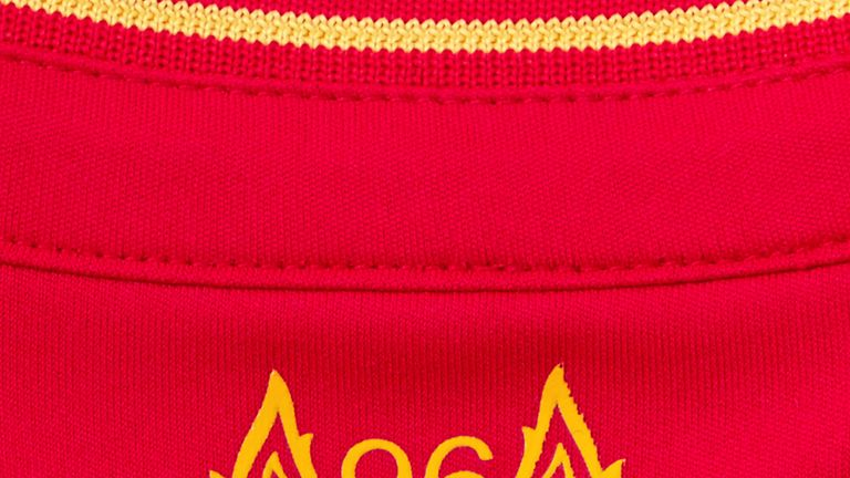 An emblem remembering the 96 who lost their lives at Hillsborough has also been included on the back (image c/o Liverpool FC)