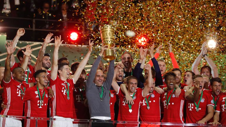 Image result for pep guardiola trophy bayern munich