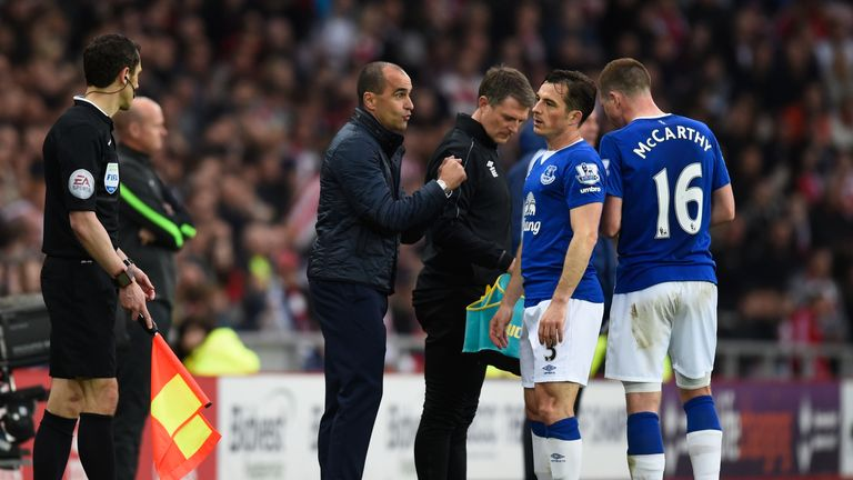 Roberto Martinez will not be in the Everton dugout this Sunday