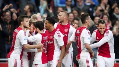 Ajax celebrate a goal in their win over FC Twente on Sunday