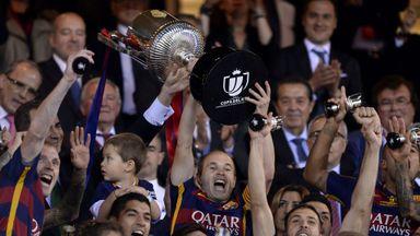 Barcelona celebrate last season's Copa del Rey final win against Sevilla
