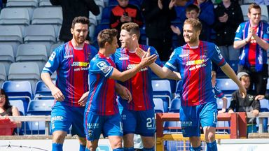 Danny Devine (right) celebrates after scoring inverness' second goal