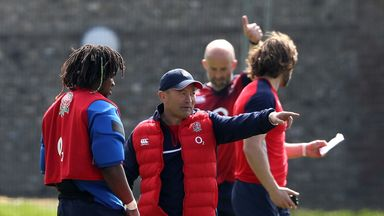 Eddie Jones (right), issues instructions to Marland Yarde (left) during the England training session held at Brighton