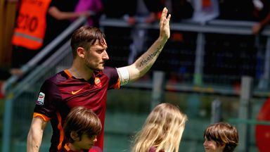 Francesco Totti made his landmark appearance from the substitutes bench