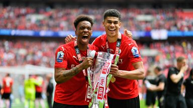 Ivan Toney and Ashley Fletcher of Barnsley FC celebrate after winning the League One play-off final against Millwall