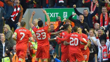Liverpool celebrate an early goal at Anfield against Villarreal