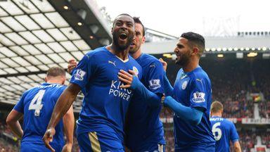 Wes Morgan celebrates his equaliser for Leicester at Old Trafford
