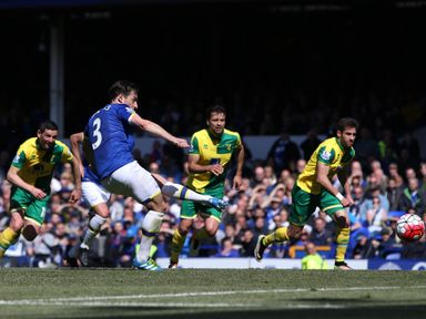 Leighton Baines scored in two of Everton's final four games of the season
