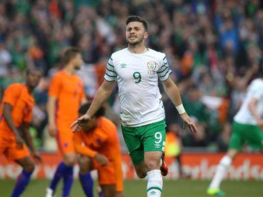 Shane Long celebrates the Republic of Ireland's goal