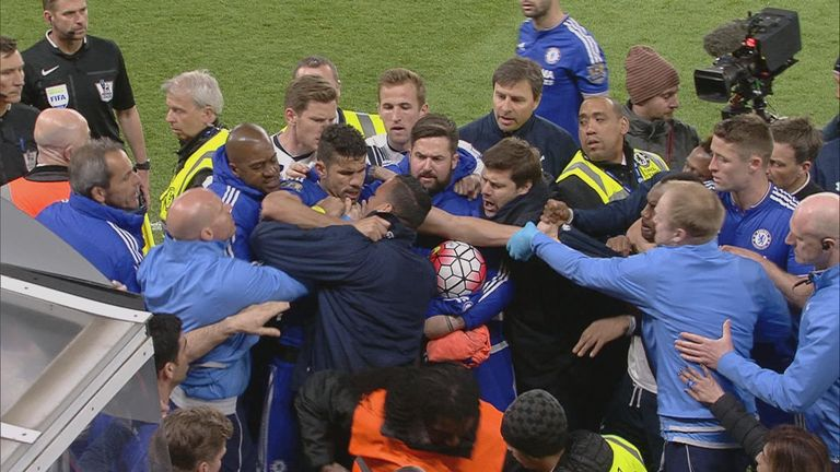 A mass brawl broke out at full-time between players and staff from both sides