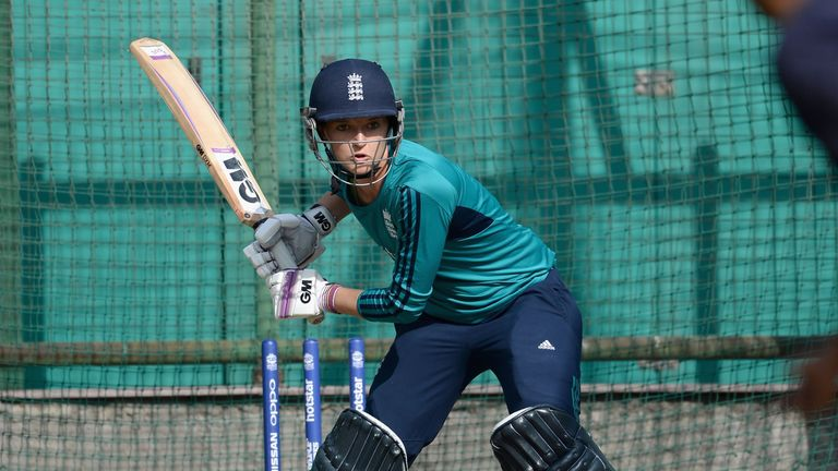 Sarah Taylor of England bats during a net session at Feroz Shah Kotla Stadium on March 29, 2016 in Delhi, India.