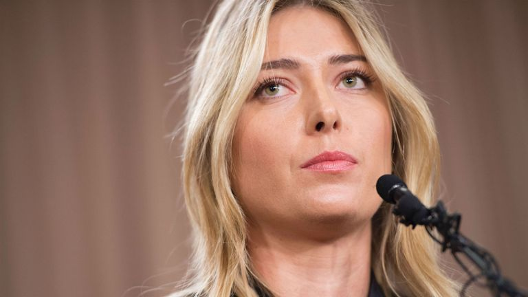 Sharapova pictured as she announces her positive drugs test at a Los Angeles hotel in March 2016