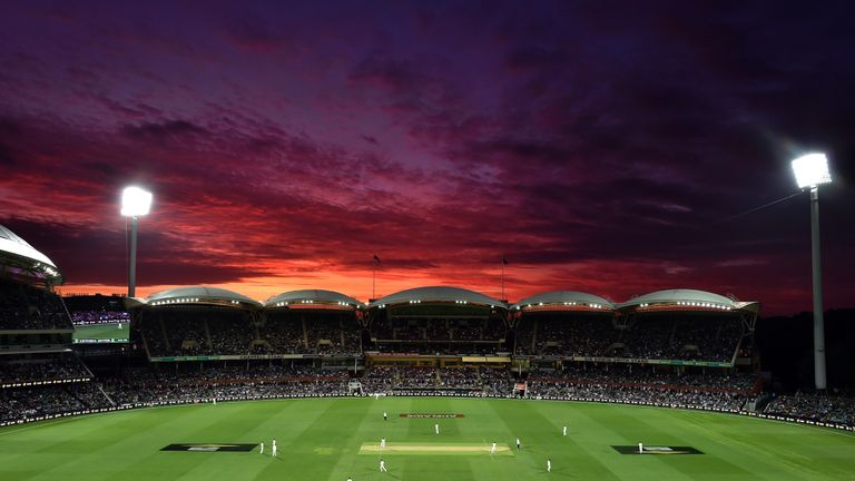The sun sets over the Adelaide Oval during the first day-night cricket Test match between Australia and New Zealand in 2015