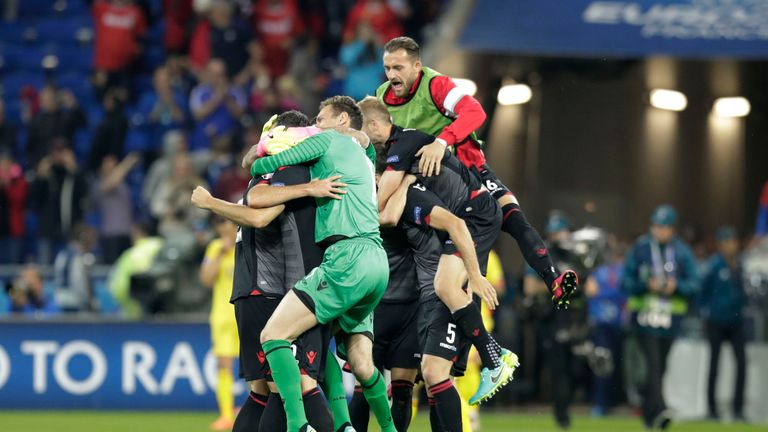 Albania players after the full-time whistle in Lyon