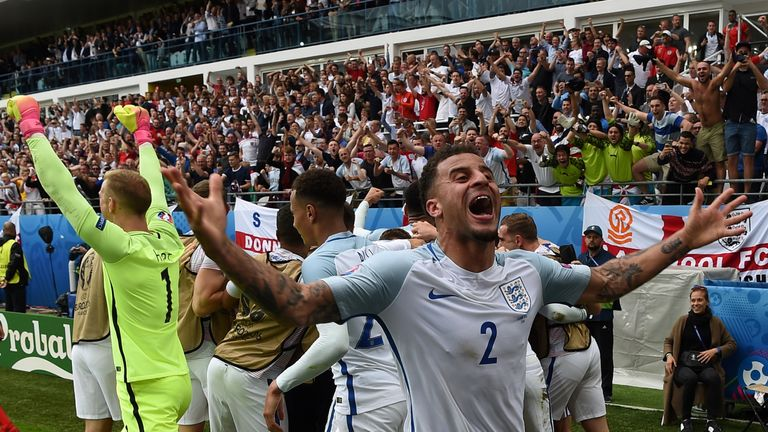England's defender Kyle Walker celebrates after the victory over Wales