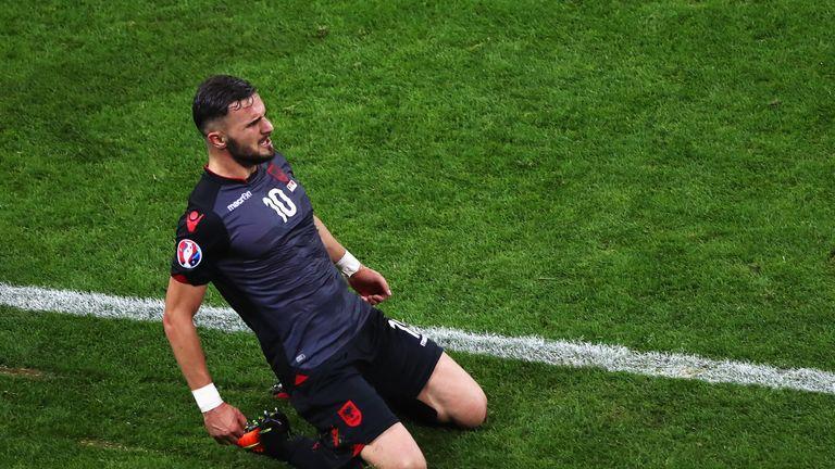 Albania's Armando Sadiku celebrates after opening the scoring against Romania