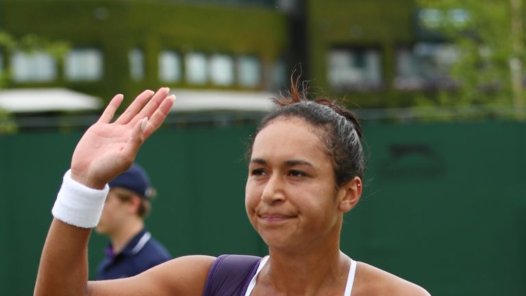 Watson was eliminated by Annika Beck over three sets in the Wimbledon singles