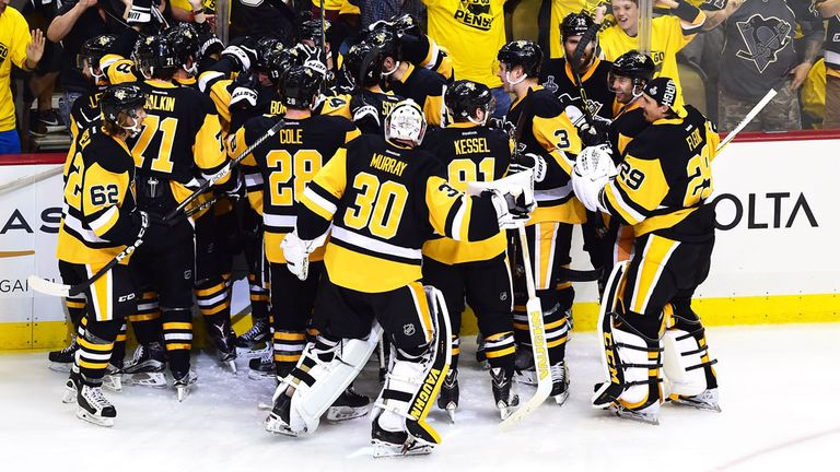 Pittsburgh celebrate the overtime goal by Conor Sheary