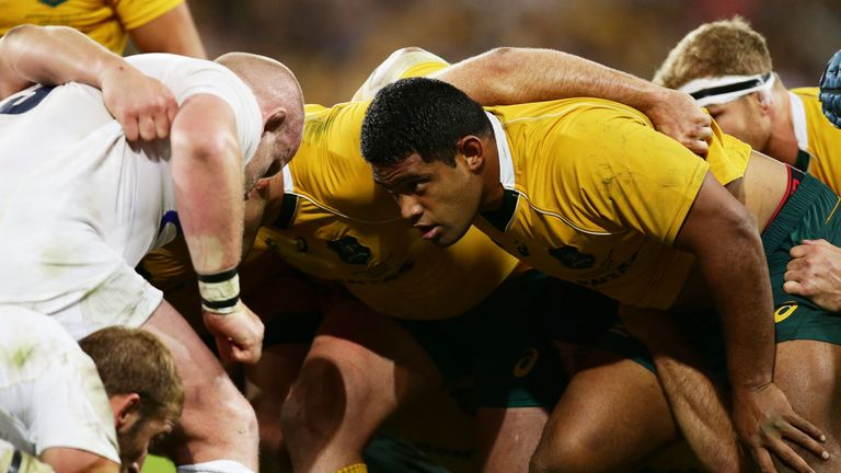 Scott Sio packs into the scrum against Dan Cole during the Test match between the Wallabies and England in Brisbane in June