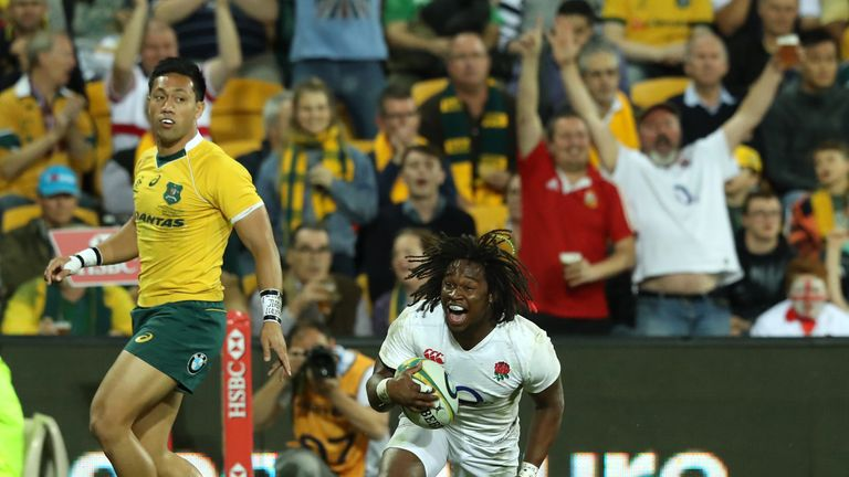 Marland Yarde scores a try for England against Australia in Brisbane in June