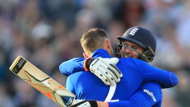 England's Alex Hales celebrates his century with Jason Roy