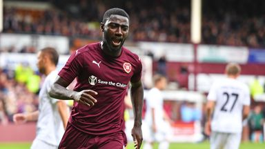 Hearts midfielder Prince Buaben