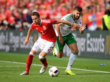 Chris Gunter (l): Wales still in a strong position