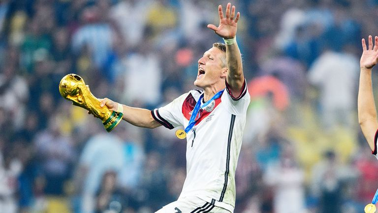 Manchester United's Bastian Schweinsteiger celebrates Germany's World Cup win in 2014