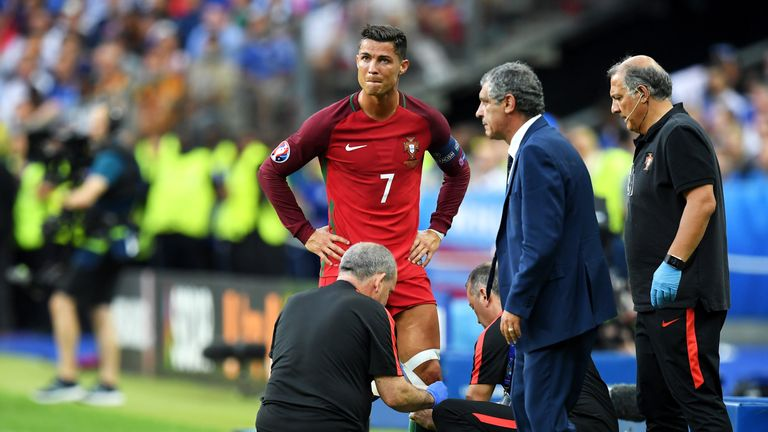 The Portuguese medical staff attempted to strap Ronaldo's knee but he was unable to continue
