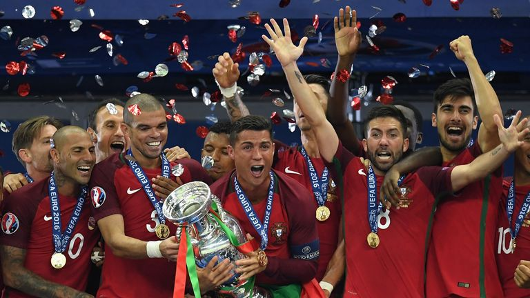Cristiano Ronaldo was taken off injured but Portugal still lifted the trophy