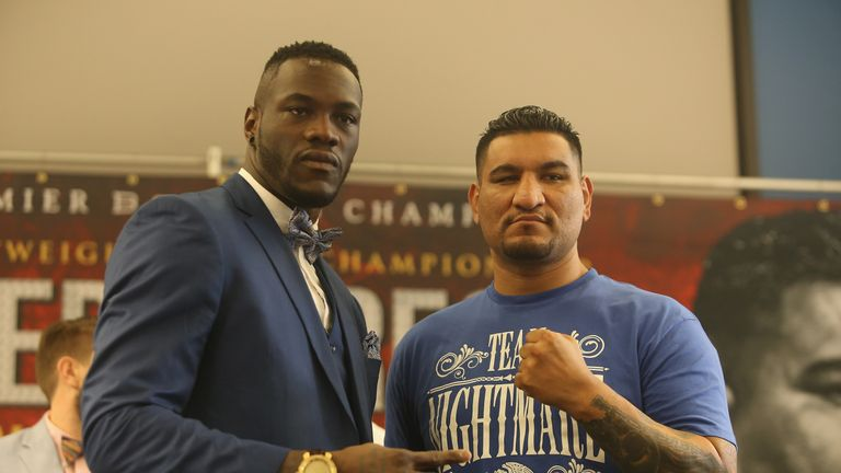 Deontay Wilder and Chris Arreola pose during the final press conference for Saturday's heavyweight showdown in Alabama