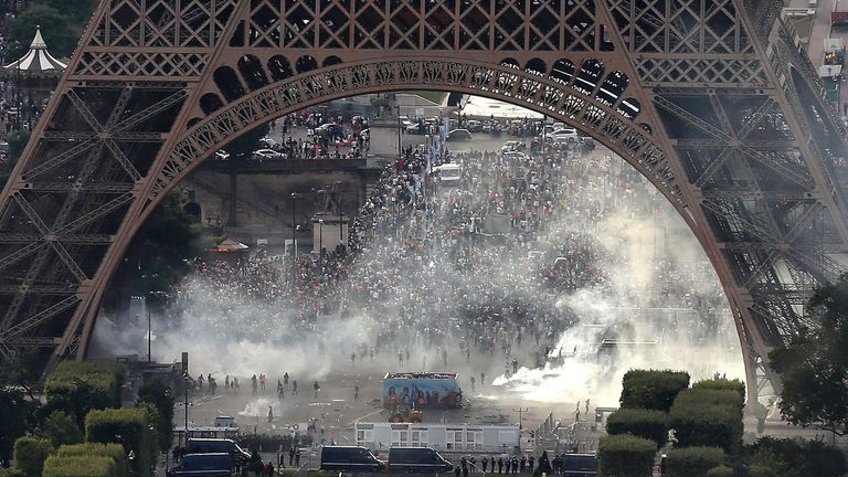 The police also used water cannons to extinguish fires
