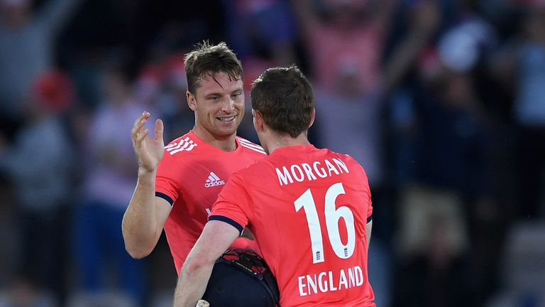 England captain Eoin Morgan and Jos Buttler celebrate winning the Natwest International T20 match between England and Sri Lanka
