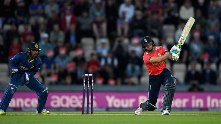 Jos Buttler cracks a boundary during his T20I best score of 73 not out against Sri Lanka